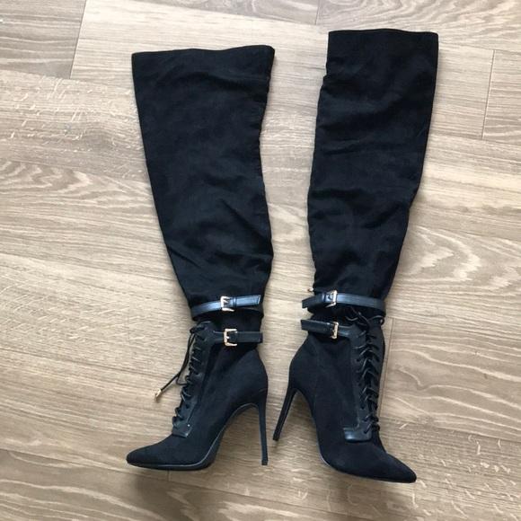 5ea9463df6e Fashion Nova Thigh high lace up boots never worn!